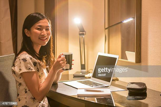 Japanese Businesswoman Taking a Break From Working From Home