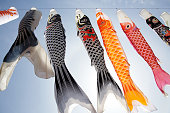 Japanese carp kite streamer decoration against blue sky