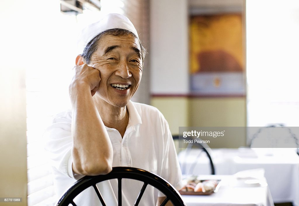 Japanese Chef at restaurant table : Stock Photo