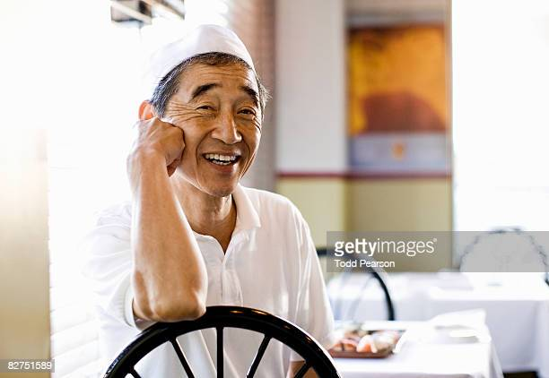 Japanese Chef at restaurant table