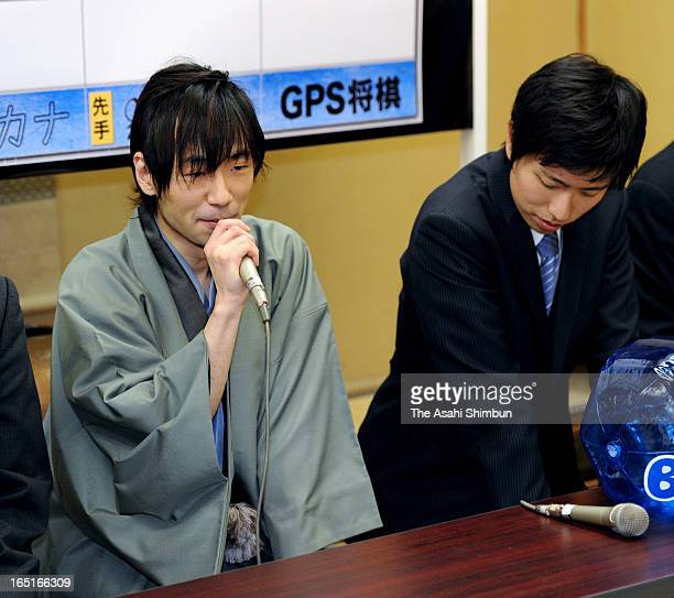Japanese chess shogi master Shinichi Sato speaks after losing to shogi program 'Ponanza' developed by Issei Yamamoto first ever defeat for an active...