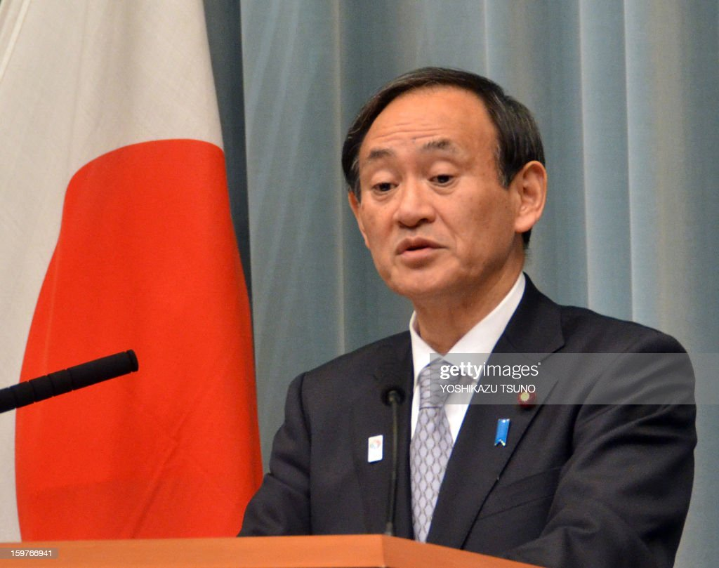 The Press Cabinet Japanese Chief Cabinet Secretary Yoshihide Suga Speaks To The