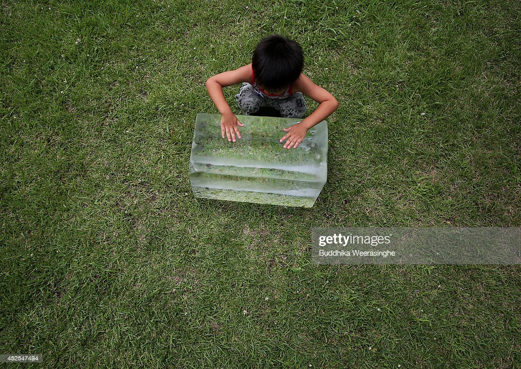 Japanese child, cool down by playing with ice block at Himeji Zoo on July 23, 2014 in Himeji, Japan. Heat wave continues in many parts of Japan as temperature rising to 33 degrees Celsius today. Ministry of Health of Japan reported that the number of death from heat stroke in the past decade until 2013 amounted to 7344, 2.7 times of the previous decade.