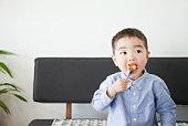 Children eat a donut