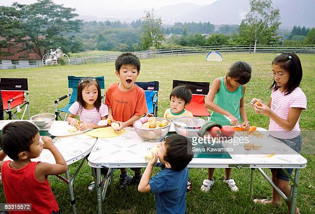 Japanese children preparing dinner