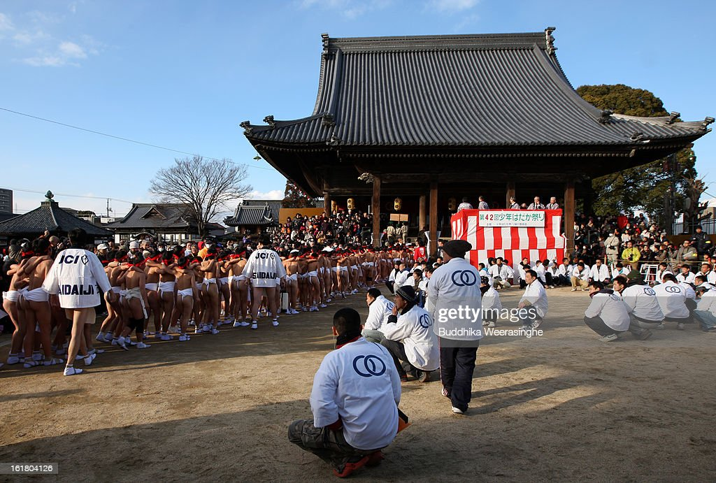 Japanese children wear loincloths as they enter the Saidaiji Temple during Naked Festival on February 16 2013 in Okayama Japan Saidaiji Naked...