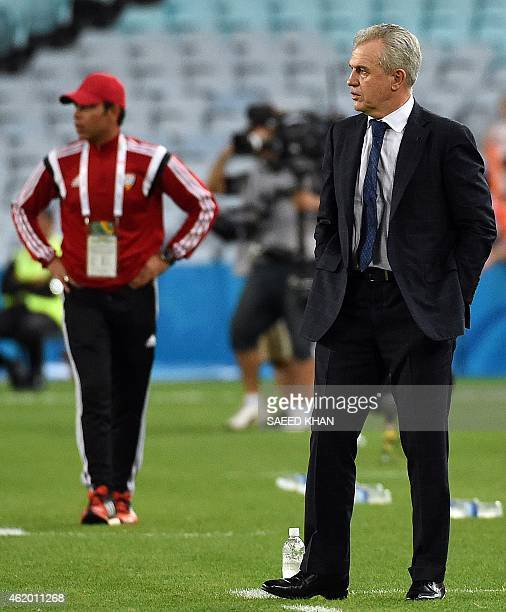 Japanese coach Javier Aguirre looks on during the quarterfinal football match between Japan and UAE at the AFC Asian Cup in Sydney on January 23 2015...