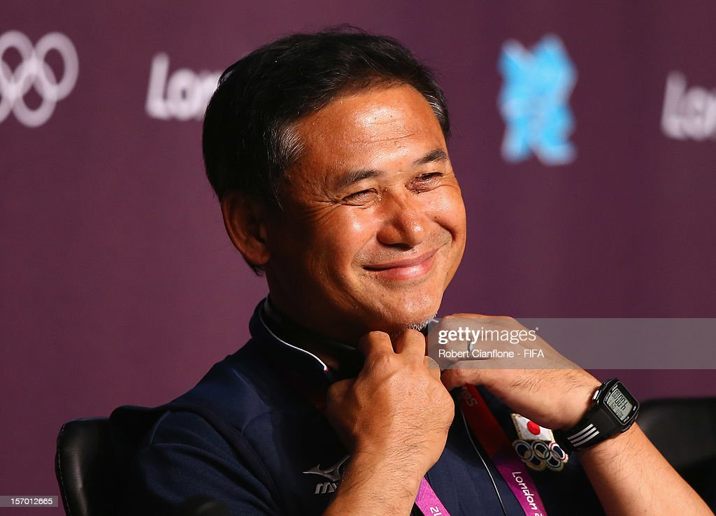 Japanese coach <a gi-track='captionPersonalityLinkClicked' href=/galleries/search?phrase=Norio+Sasaki+-+Soccer+Coach&family=editorial&specificpeople=5488586 ng-click='$event.stopPropagation()'>Norio Sasaki</a> is seen during the Women's Football Final press conference at the Main Press Centre as part of the London 2012 Olympic Games on August 8, 2012 in Newcastle upon Tyne, England.