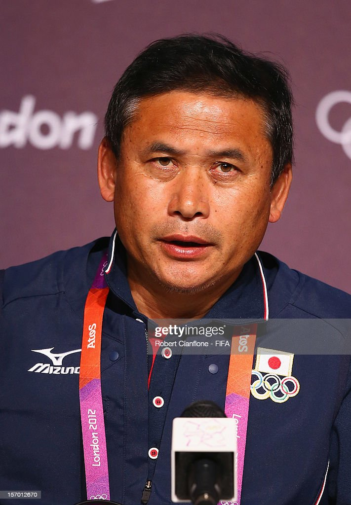 Japanese coach Norio Sasaki is seen during the Women's Football Final press conference at the Main Press Centre as part of the London 2012 Olympic Games on August 8, 2012 in Newcastle upon Tyne, England.