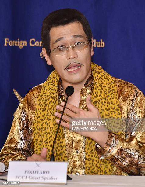 Japanese comedian Pikotaro speaks during a press conference at the Foreign Correspondents' Club of Japan in Tokyo on October 28 2016 A Japanese...