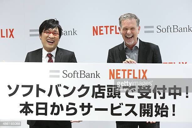 Japanese comedian Ryota Yamazato and Reed Hastings founder and CEO of Netflix Inc attend the launch event for Netflix service in Japan at SoftBank...