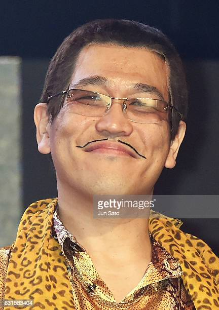 Japanese comedian/singersongwriter PIKOTARO attends the openinf ceremony of Tokyo Auto Salon on January 13 2017 in Tokyo Japan