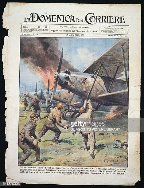 Japanese commando attack on the Chinese airport of Nanchang plate by Achille Beltrame from La Domenica del Corriere newspaper July 31 1938 Second...