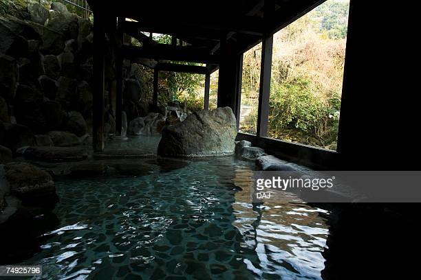 Japanese common tub, hot spring, high angle view, Japan