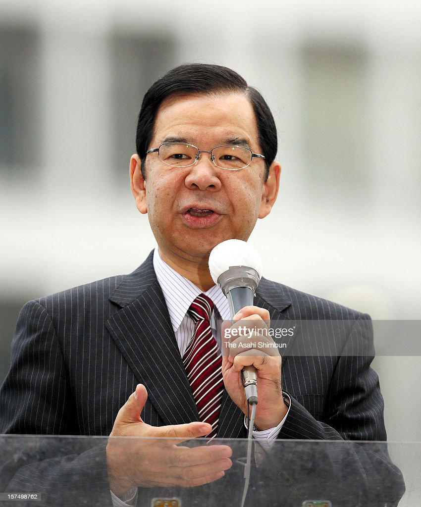 Japanese Communist Party leader Kazuo Shii makes a street speech on December 4, 2012 in Tokyo, Japan. The general election capmaign officially began for December 16, with the election issues such as nuclear power energy, economy growth and Trans Pacific Partnership negotiations.
