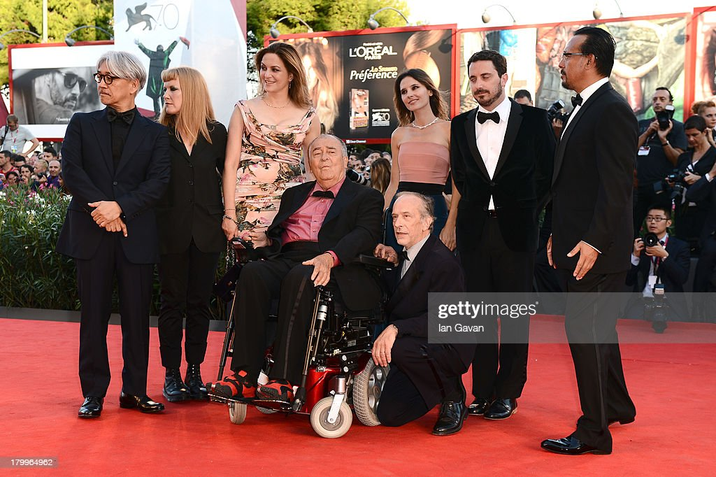Japanese composer, musician and producer Ryuichi Sakamoto, British director Andrea Arnold, German actress Martina Gedeck, French actress Virginie Ledoyen, Chilean director, screenwriter and producer Pablo Larrain, Chinese actor and director Jiang Wen, Italian director and president of the jury Bernardo Bertolucci and Swiss French director of photography Renato Berta attend the Closing Ceremony during the 70th Venice International Film Festival at the Palazzo del Cinema on September 7, 2013 in Venice, Italy.