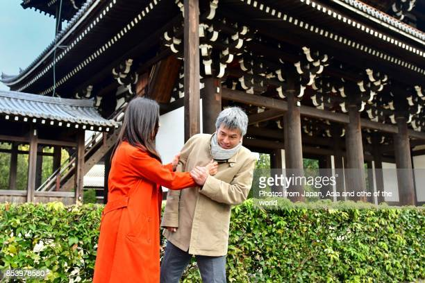 Japanese Couple in Their 40's Arguing at Tofuku-ji Temple, Kyoto