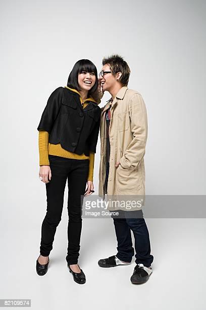 Japanese couple whispering