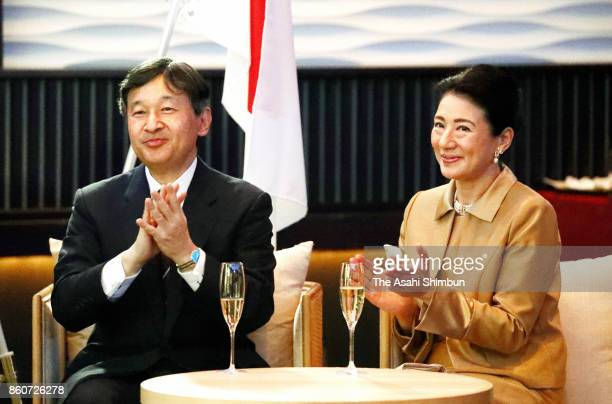 Japanese Crown Prince Naruhito and Crown Princess Masako attend the ceremony marking the 150th anniversary of the diplomatic relationship between...