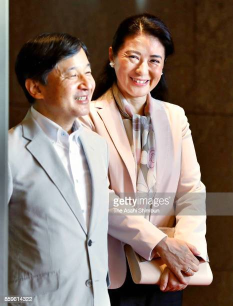 Japanese Crown Prince Naruhito and Crown Princess Masako wait for arrival of Crown Prince Frederik and Crown Princess Mary of Denmark at a hotel on...