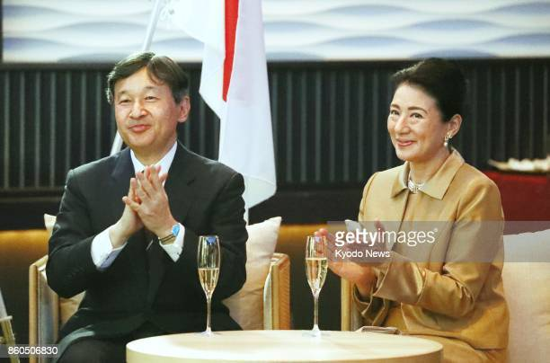 Japanese Crown Prince Naruhito and his wife Crown Princess Masako attend a reception in Tokyo on Oct 12 to celebrate the 150th anniversary of...
