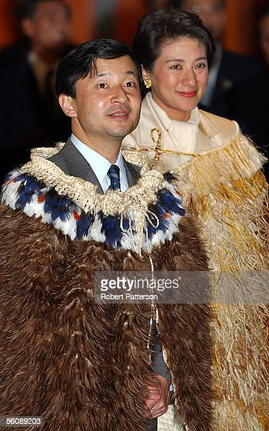 Japanese Crown Prince Naruhito his wife Princess Narukito attend Te Papa New Zealand National Museum in Wellington wearing traditional ceremonial...