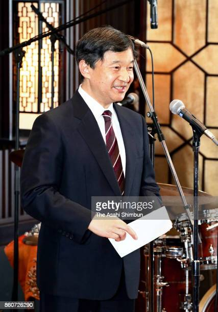 Japanese Crown Prince Naruhito makes a speech during the ceremony marking the 150th anniversary of the diplomatic relationship between Denmark and...