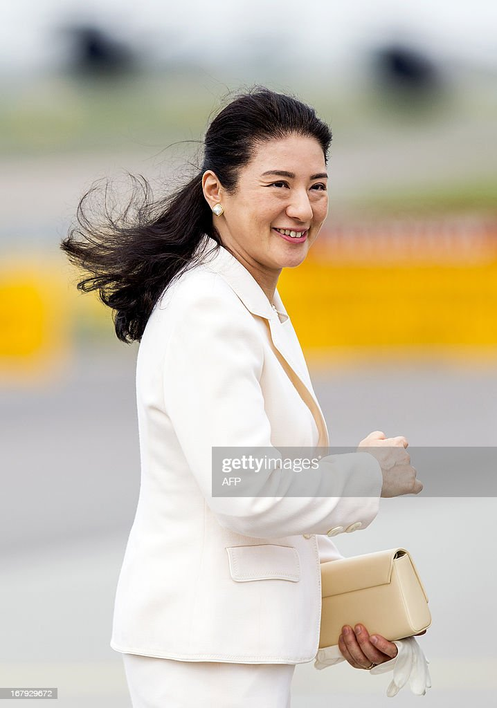Japanese Crown Princess Masako is pictured before departing from Schiphol Airport, near Amsterdam, on May 2, 2013. The Japanese royals were invited to the Netherlands for the investiture of Prince Willem-Alexander as King on April 30, 2013. netherlands out