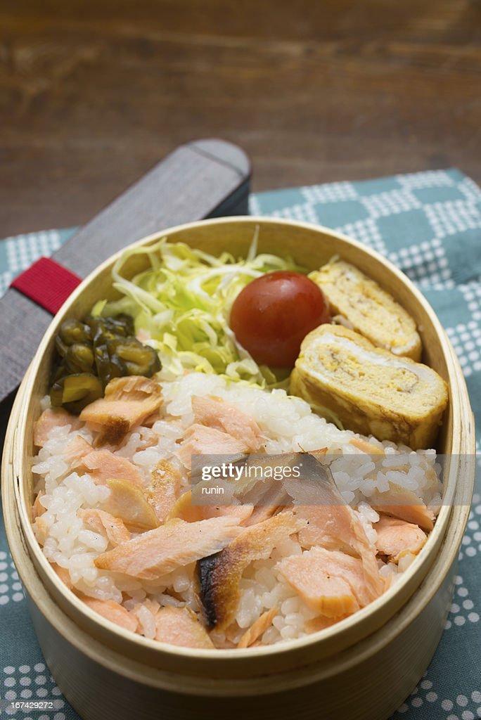 Comida japonesa nome (salmão) Bento (シャケ弁) : Foto de stock