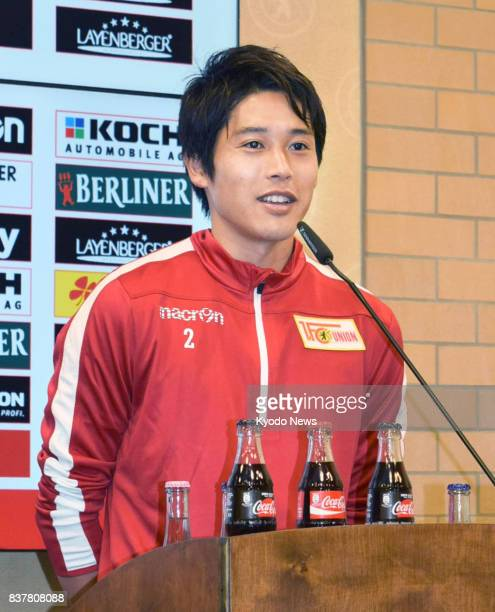 Japanese defender Atsuto Uchida meets with reporters in Berlin on Aug 23 after transferring to German secondtier side Union Berlin from firstdivision...