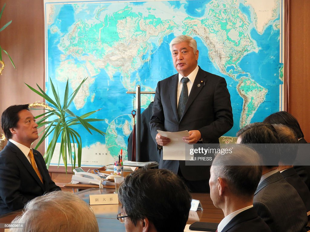 Japanese Defense Minister Gen Nakatani speaks before high ranking officers of the Defense Ministry at his office in Tokyo on February 7, 2016 as North Korea launched a rocket. North Korea launched a long-range rocket on February 7, violating UN resolutions and doubling down against an international community already determined to punish Pyongyang for a nuclear test last month. AFP PHOTO / JIJI PRESS JAPAN OUT / AFP / JIJI PRESS / JIJI PRESS
