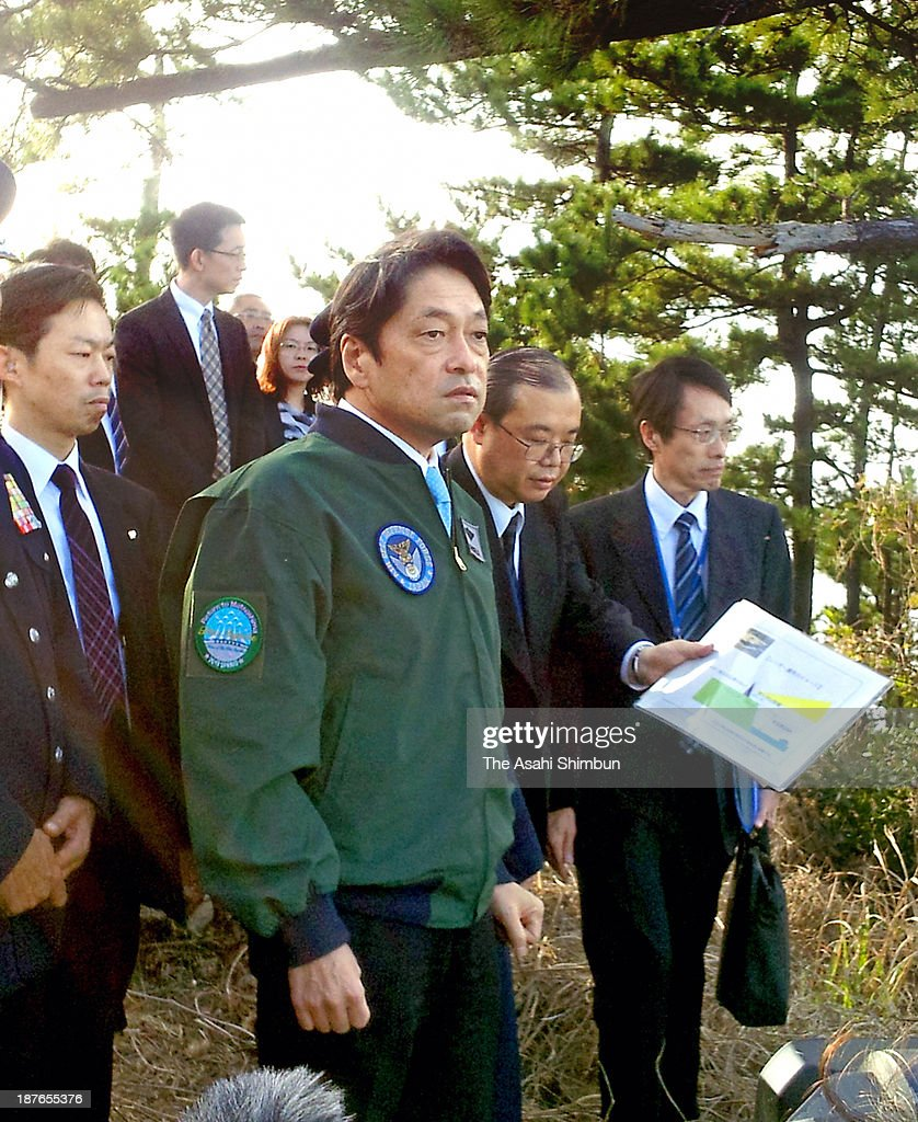 Japanese Defense Minister Itsunori Onodera inspects the Japan Air Self-Defense Force Kyogamisaki Sub Base on November 9, 2013 in Kyotango, Kyoto, Japan. Japan and U.S. have agreed to deploy the X-band Radar in Japan.