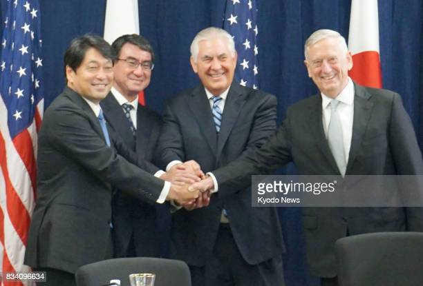 Japanese Defense Minister Itsunori Onodera Japanese Foreign Minister Taro Kono US Secretary of State Rex Tillerson and US Defense Secretary Jim...