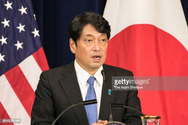 Japanese Defense Minister Itsunori Onodero speaks during a press conference following the USJapan Security Consultative Committee at the State...