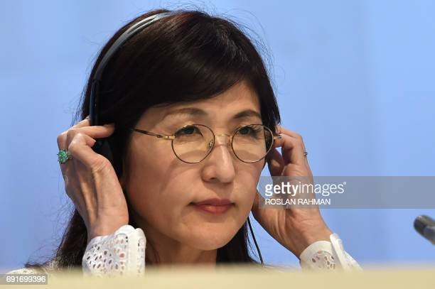 Japanese Defense Minister Tomomi Inada attends the second plenary session at the 16th Institute for Strategic Studies ShangriLa Dialogue Summit in...