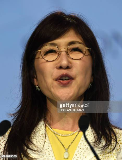 Japanese Defense Minister Tomomi Inada delivers her speech during the second plenary session at the 16th Institute for Strategic Studies ShangriLa...
