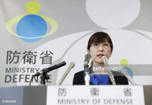 Japanese Defense Minister Tomomi Inada holds a press conference at her ministry in Tokyo on July 18 2017 According to government sources Inada gave...