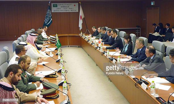 Japanese Defense Minister Tomomi Inada holds talks with Saudi Arabian Deputy Crown Prince Mohammed bin Salman at her ministry in Tokyo on Sept 2 2016...