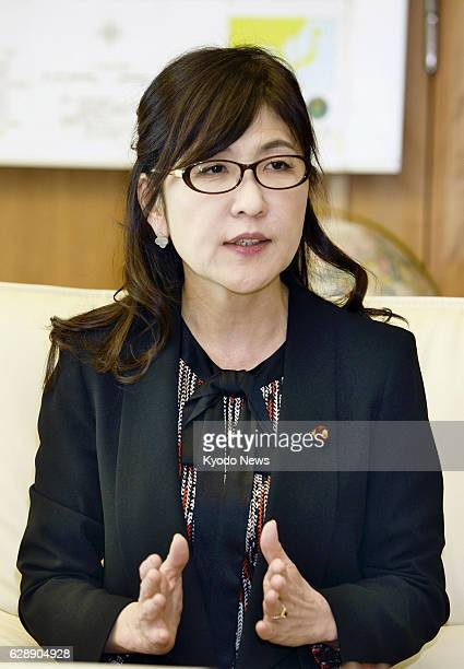 Japanese Defense Minister Tomomi Inada is interviewed by Kyodo News and other media in Tokyo on Dec 9 2016 Inada said SelfDefense Forces personnel...