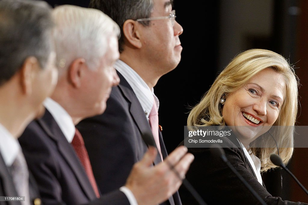 Clinton And Gates Meet With Japanese FM At State Department