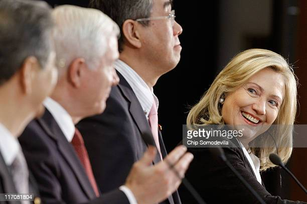 Japanese Defense Minister Toshimi Kitazawa US Defense Secretary Robert Gates Japanese Foreign Minister Takeaki Matsumoto and US Secretary of State...