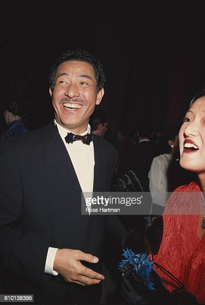 Japanese designer Issey Miyake attends the Miyake Restrospective held at the Ace Gallery in Soho New York 1994