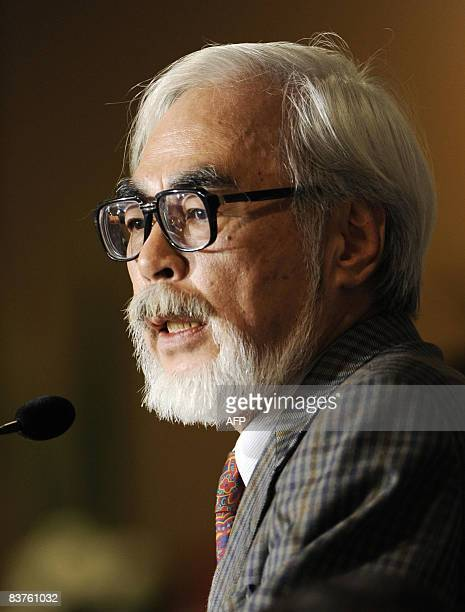 Japanese director of animation films Hayao Miyazaki speaks during a press conference at the Foreign Correspondents' Culb of Japan in Tokyo on...