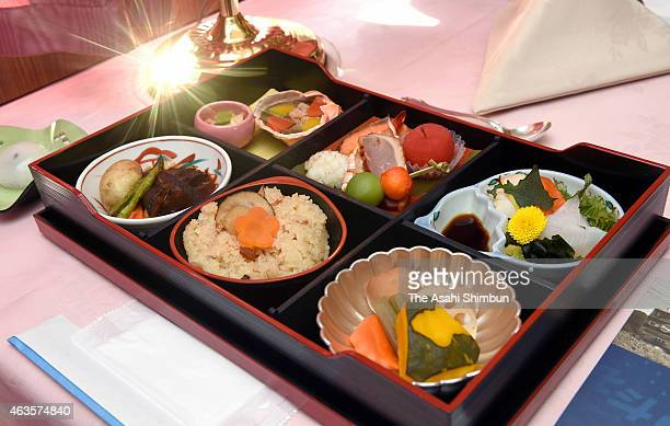 Japanese dishes served in a buffet car of the sleeper trian or as known as Blue Train 'Hokutosei' are seen during the press preview at Oku Station on...