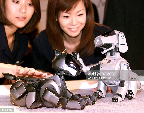 Japanese electronics giant Sony's second generation pet robot 'AIBO ERS210' which has ability to express emotion for more intimate communication with...
