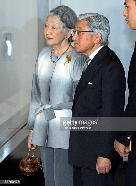 Japanese Emperor Akihito and Empress Michiko are seen at Museum of the Imperial Collections exploring the exhibition of traditional paintings from...