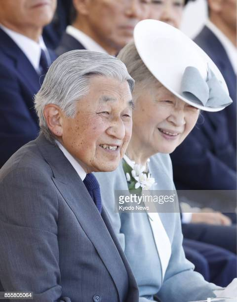 Japanese Emperor Akihito and Empress Michiko attend the opening ceremony of the 72nd National Sports Festival at Ehime Prefectural Sports Complex in...