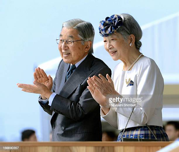 Japanese Emperor Akihito and Empress Michiko attend the Yutanaka Umizukuri Taikai or meeting on fertilizing the sea at Itoman Sea Port on November 18...