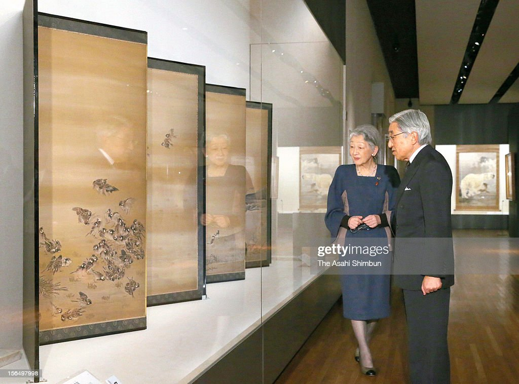 Japanese Emperor Akihito and Empress Michiko go through the exhibition of Takeuchi Seiho, held in the 70th anniversary after the painter's death, at Yamatane Museum of Art on November 15, 2012 in Tokyo, Japan.