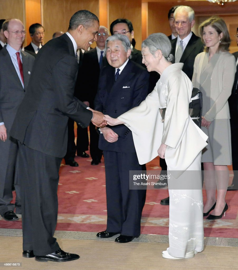 Japanese Emperor Akihito (C) and <a gi-track='captionPersonalityLinkClicked' href=/galleries/search?phrase=Empress+Michiko&family=editorial&specificpeople=158725 ng-click='$event.stopPropagation()'>Empress Michiko</a> (R) see off the U.S. President <a gi-track='captionPersonalityLinkClicked' href=/galleries/search?phrase=Barack+Obama&family=editorial&specificpeople=203260 ng-click='$event.stopPropagation()'>Barack Obama</a> as he leaves for South Korea on April 25, 2014 in Tokyo, Japan. The U.S. President is on an Asian tour where he is due to visit Japan, South Korea, Malaysia and Philippines.